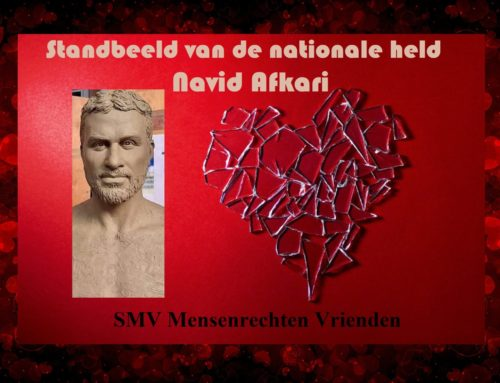 Standbeeld van de nationale held Navid Afkari, een meesterwerk van Reza Olia