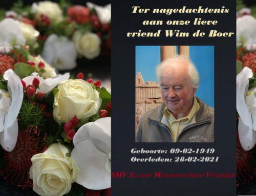 Ter nagedachtenis aan onze lieve vriend Wim de Boer